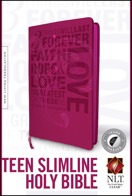 NLT Teen Slimline Bible/1 Corinthians 13-Hot Pink TuTone Indexed | SHOPtheWORD