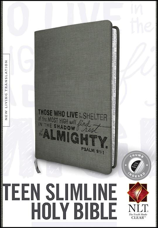 NLT Teen Slimline Bible/Psalm 91-Charcoal TuTone Indexed | SHOPtheWORD