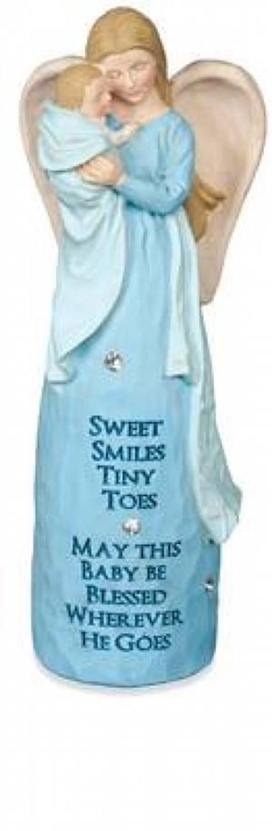 "Figurine-Jewels Of Faith-New Baby Angel-Blue (5.5"") | SHOPtheWORD"