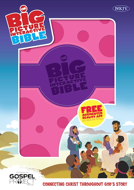 NKJV Big Picture Interactive Bible-Purple/Pink Polka Dot LeatherTouch | SHOPtheWORD