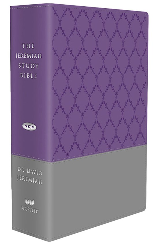NKJV Jeremiah Study Bible-Purple/Gray Burnished w/Trellis Print Leatherluxe | SHOPtheWORD