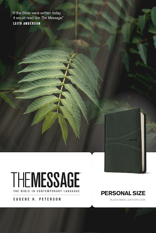 Message/Personal Size Bible (Numbered Edition)-Black Wave LeatherLook | SHOPtheWORD