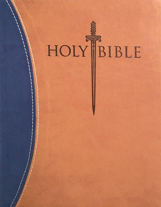 KJVER Thinline Bible/Large Print-Blue/Tan Ultrasoft Indexed   SHOPtheWORD