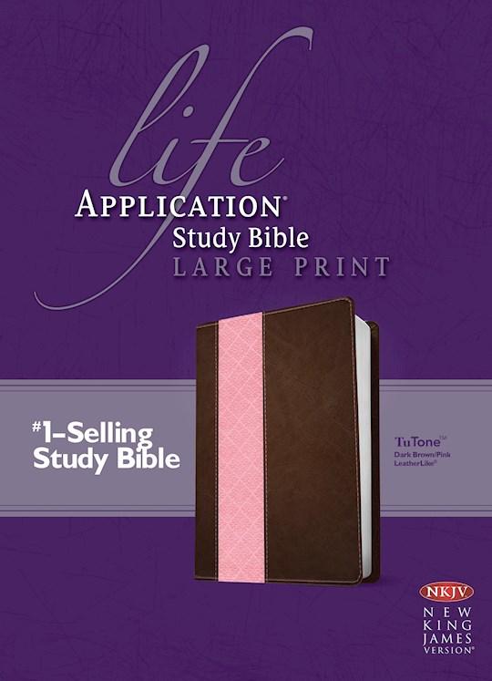 NKJV Life Application Study Bible/Large Print-Dark Brown/Pink TuTone | SHOPtheWORD