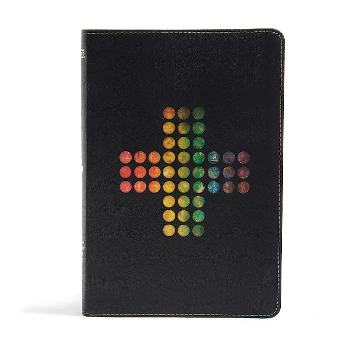 NIV Holman Rainbow Study Bible-Pierced Cross Leathertouch | SHOPtheWORD