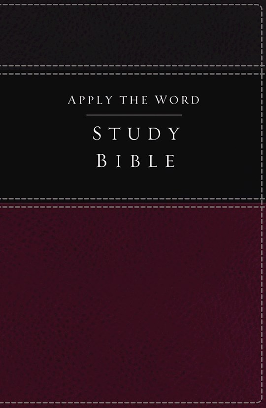 NKJV Apply The Word Study Bible (Full Color)-Deep Rose/Black LeatherSoft Indexed   SHOPtheWORD