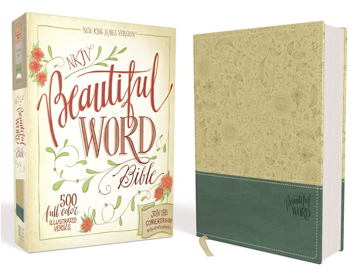 NKJV Beautiful Word Bible-Taupe/Peacock Blue DuoTone | SHOPtheWORD