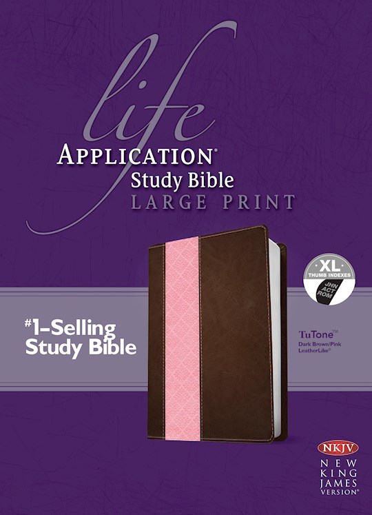 NKJV Life Application Study Bible/Large Print-Dark Brown/Pink TuTone Indexed | SHOPtheWORD