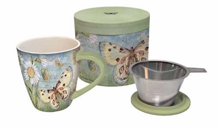 Tea Infuser Mug Set-Butterfly Daisy w/Cover & Strainer-Gift Boxed   SHOPtheWORD