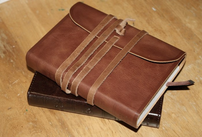 ESV Large Print Compact Bible-Natural Leather w/Flap & Strap | SHOPtheWORD