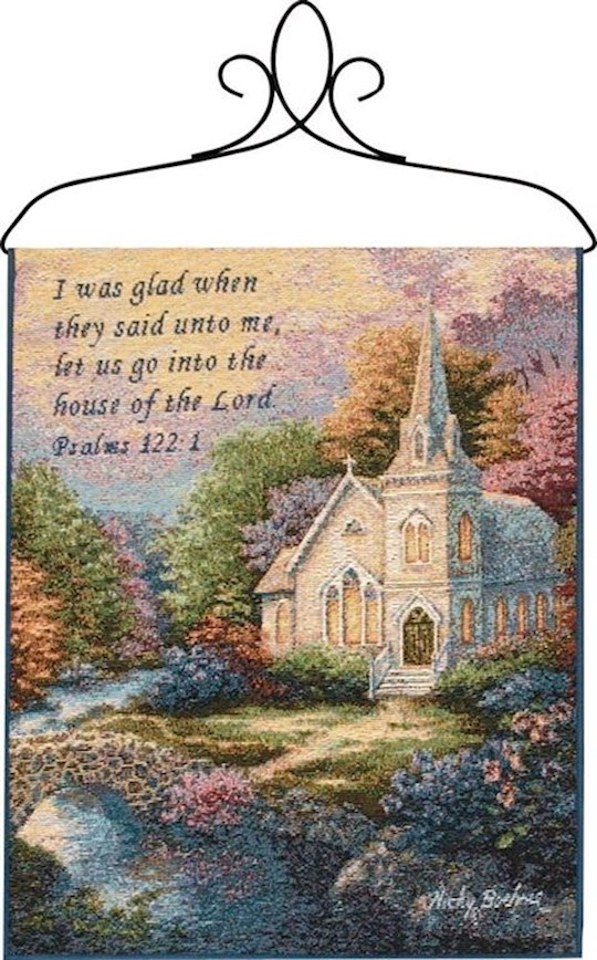 "Bannerette-Church In the Country (Tapestry) (13"" x 18"") 