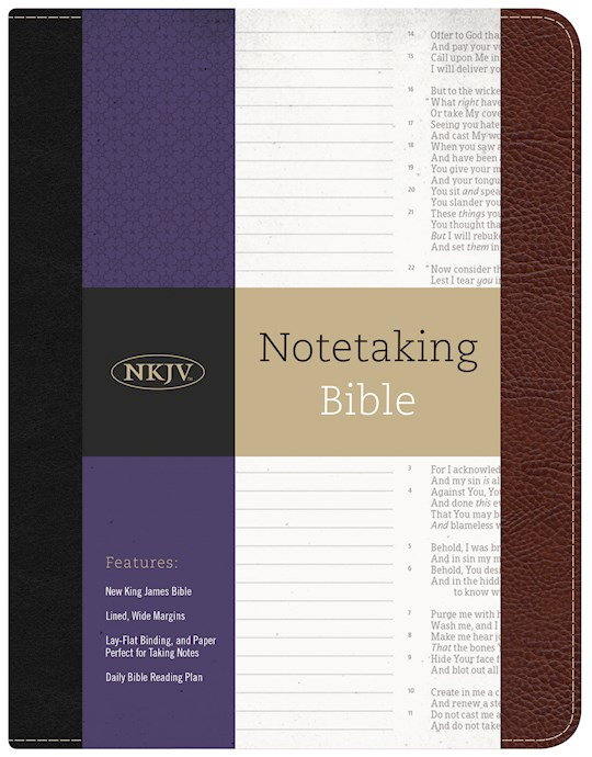 NKJV Notetaking Bible-Black/Burgundy Bonded Leather | SHOPtheWORD