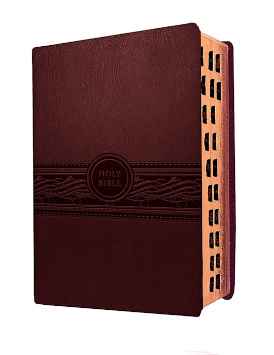 MEV Personal Size Large Print Bible-Cherry/Brown LeatherLike Indexed | SHOPtheWORD