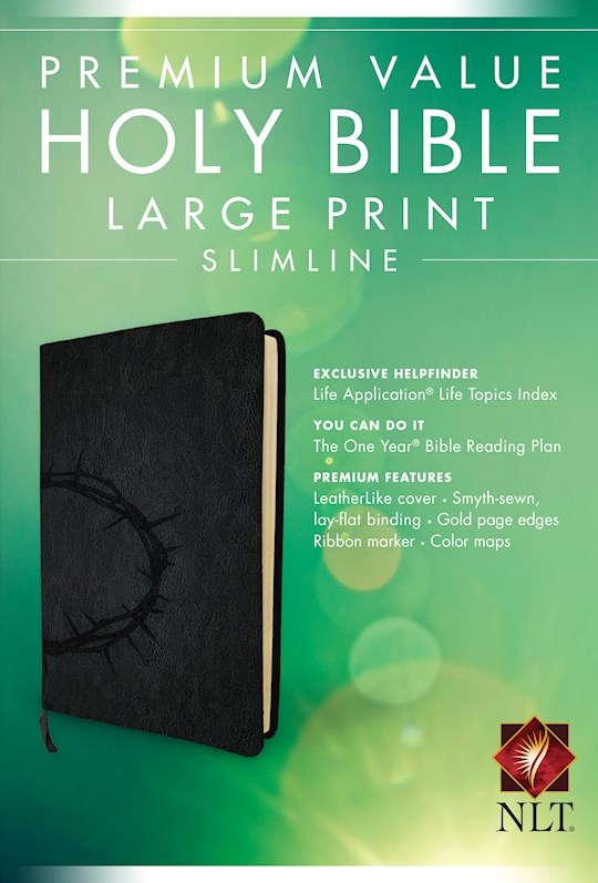NLT Premium Value Large Print Slimline Bible-Onyx Crown LeatherLike | SHOPtheWORD