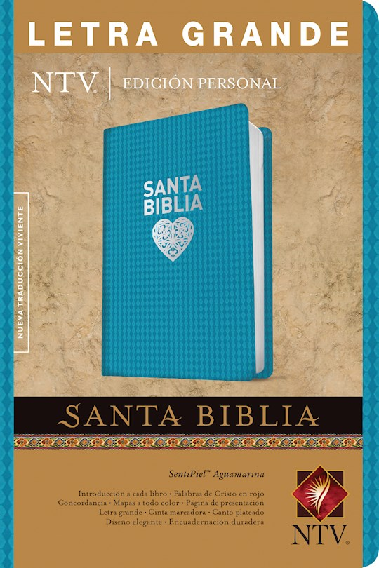 Span-NTV Personal Size Large Print Bible (Edicion Personal Letra Grande)-Aqua LeatherLike Indexed | SHOPtheWORD