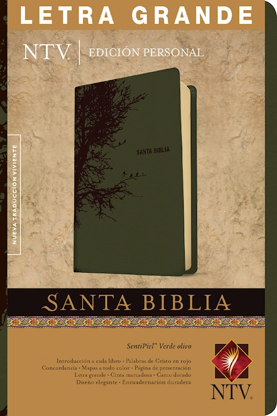 Span-NTV Personal Size Large Print Bible (Edicion Personal Letra Grande)-Olive Green LeatherLike Indexed | SHOPtheWORD