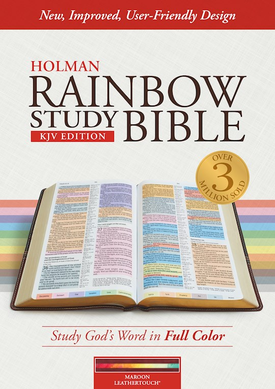 KJV Holman Rainbow Study Bible-Maroon LeatherTouch Indexed | SHOPtheWORD