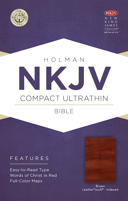 NKJV Compact Ultrathin Bible-Brown Cross Design LeatherTouch Indexed | SHOPtheWORD
