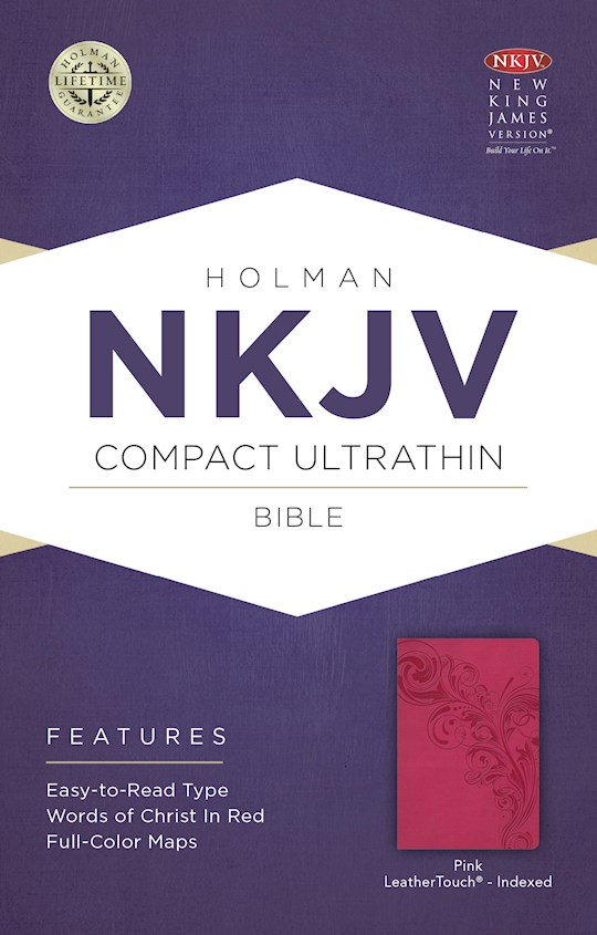 NKJV Compact Ultrathin Bible-Pink LeatherTouch Indexed | SHOPtheWORD