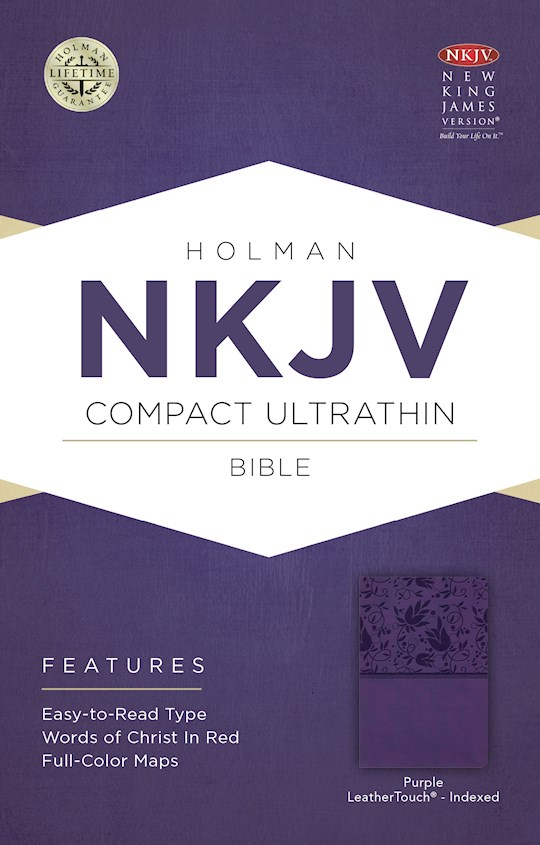 NKJV Compact Ultrathin Bible-Purple LeatherTouch Indexed | SHOPtheWORD