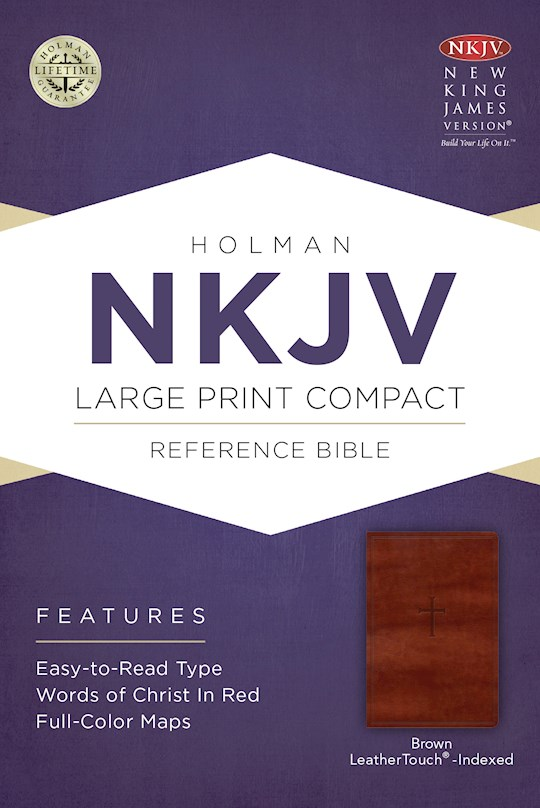 NKJV Large Print Compact Reference Bible-Brown Cross LeatherTouch Indexed (Not Available-Out Of Print) | SHOPtheWORD