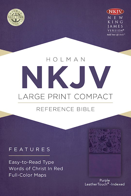 NKJV Large Print Compact Reference Bible-Purple LeatherTouch Indexed | SHOPtheWORD