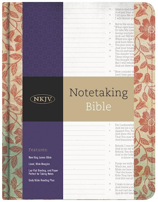 NKJV Notetaking Bible-Red Floral/Fabric | SHOPtheWORD
