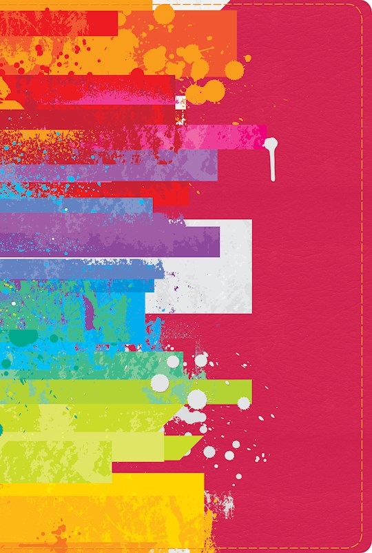 Span-NTV Rainbow Study Bible (Biblia De Estudio Arco Iris)-Watercolor Over Raspberry LeatherTouch Indexed | SHOPtheWORD