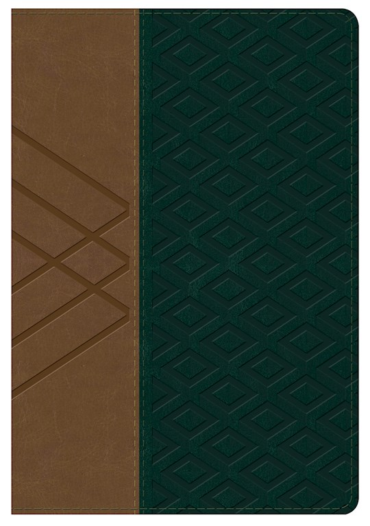 Span-RVR 1960 Hand Size Giant Print Bible (Biblia Letra Grande Tamano Manual)-Tan/Dark Green LeatherTouch | SHOPtheWORD