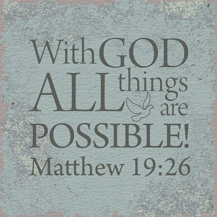 "Plaque-I Believe-Matthew 19:26 (4"" Square) | SHOPtheWORD"
