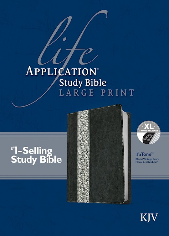 KJV Life Application Study Bible/Large Print-Black/Vintage Ivory Floral TuTone Indexed | SHOPtheWORD