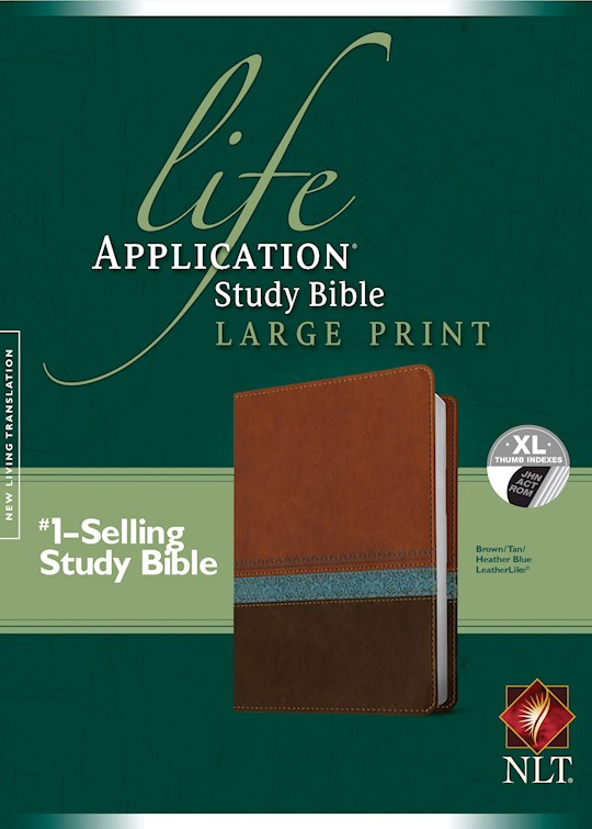NLT Life Application Study Bible/Large Print-Brown/Tan/Heather Blue LeatherLike Indexed | SHOPtheWORD