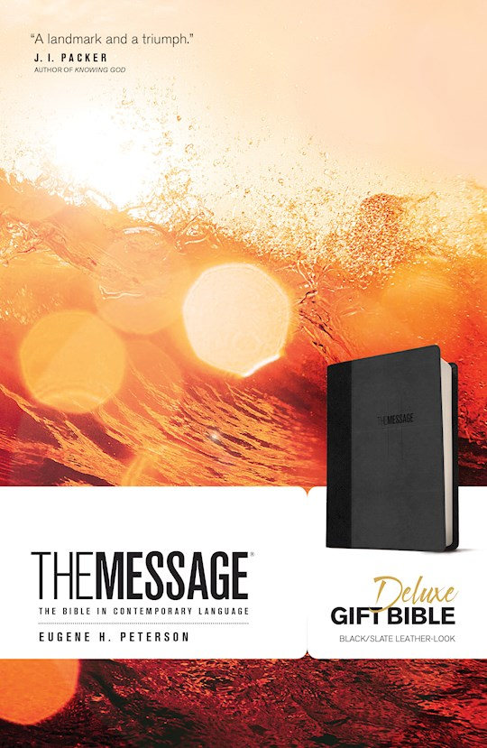 Message Deluxe Gift Bible-Black/Slate LeatherLook | SHOPtheWORD