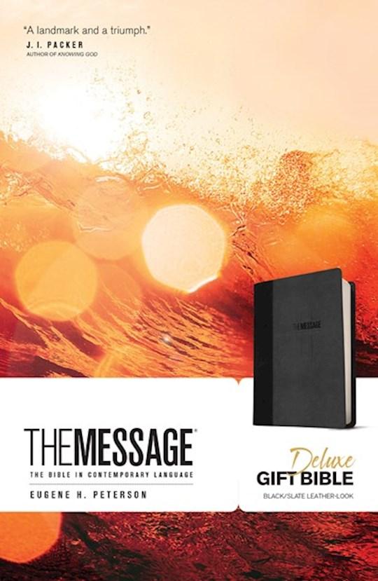 The Message Deluxe Gift Bible-Black/Slate LeatherLook | SHOPtheWORD