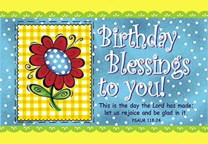 "Cards-Pass It On-Birthday Blessings-Flower (3"" x 2"") (Pack Of 25) 