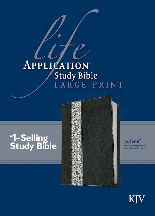 KJV Life Application Study Bible/Large Print-Black/Vintage Ivory Floral LeatherLike | SHOPtheWORD