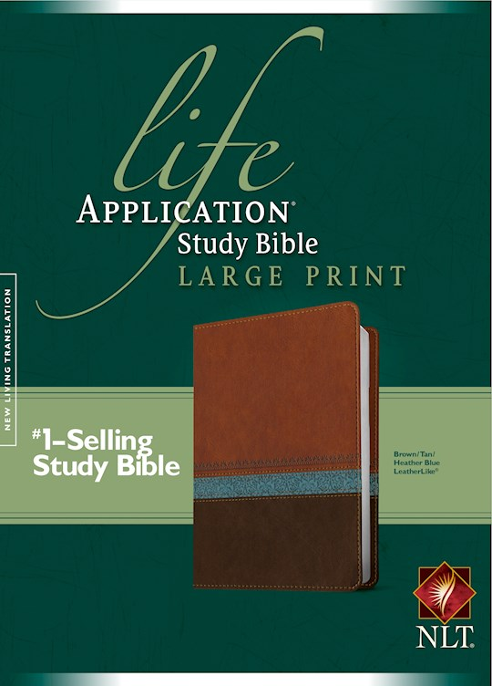 NLT Life Application Study Bible/Large Print-Brown/Tan/Heather Blue LeatherLike (Not Available-Out Of Print) | SHOPtheWORD