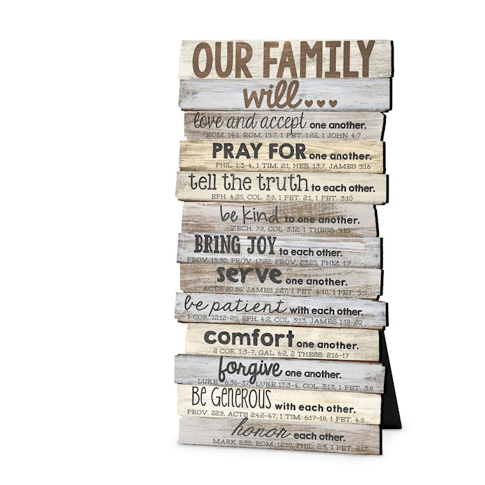 Plaque-Our Family Will (10 X 5.5) (Desktop)-MDF Wood (#45013) | SHOPtheWORD