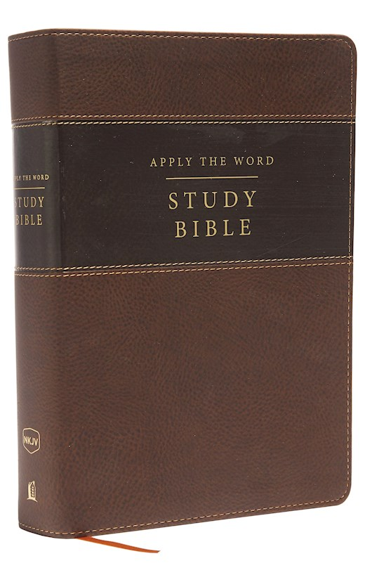 NKJV Apply The Word Study Bible (Full Color)/Large Print-Earth Brown Leathersoft Indexed | SHOPtheWORD