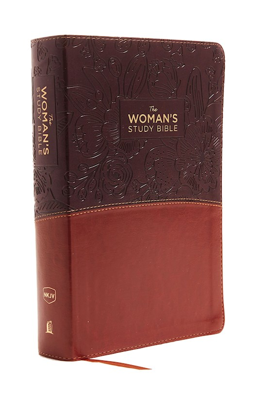 NKJV Woman'S Study Bible (Full Color)-Brown/Burgundy Leathersoft | SHOPtheWORD