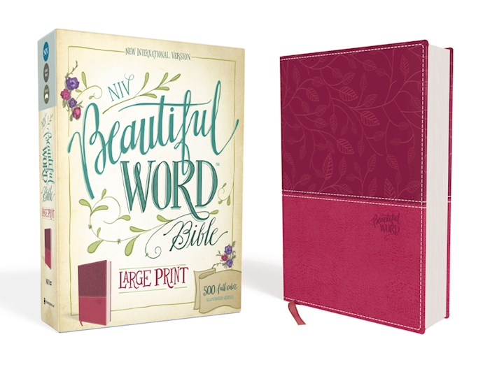 NIV Beautiful Word Bible (Full Color)/Large Print-Pink/Cranberry Leathersoft | SHOPtheWORD