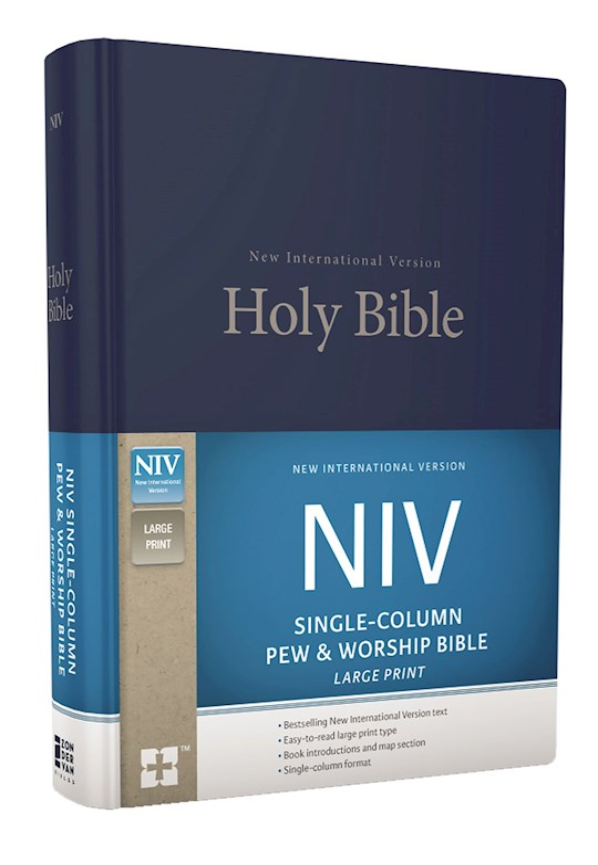 NIV Single-Column Pew And Worship Bible/Large Print-Blue Hardcover  | SHOPtheWORD