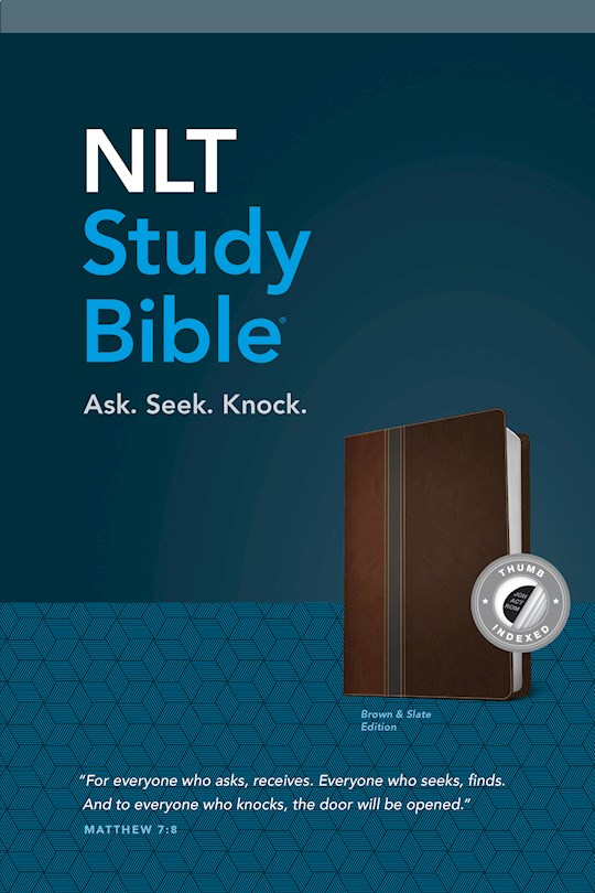 NLT Study Bible-Brown/Slate TuTone Indexed | SHOPtheWORD
