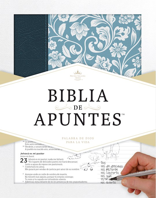 Span-RVR 1960 Notetaking Bible (Biblia de Apunte)-Blue Genuine Leather & Cloth Over Board | SHOPtheWORD