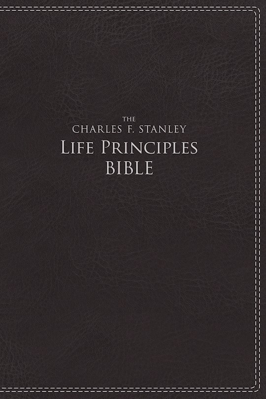 NIV Charles Stanley Life Principles Bible-Charcoal Leathersoft Indexed | SHOPtheWORD
