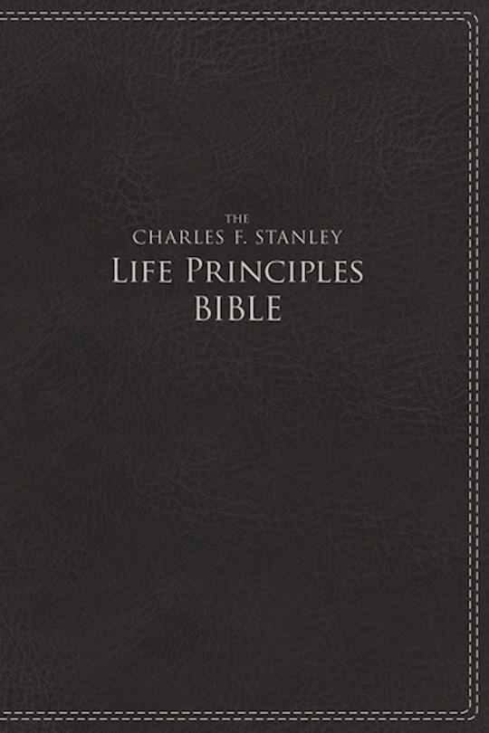 NIV Charles Stanley Life Principles Bible-Charcoal Leathersoft | SHOPtheWORD