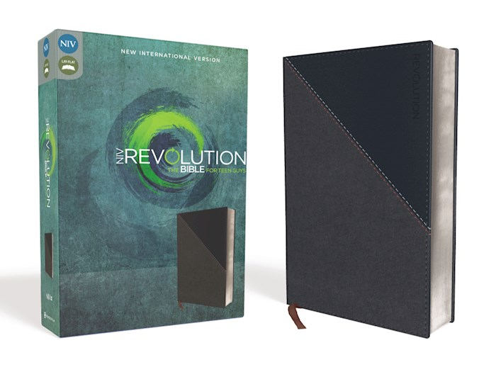 NIV Revolution Bible For Teen Guys-Charcoal/Navy Leathersoft | SHOPtheWORD