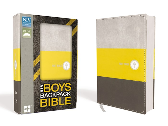 NIV Boys Backpack Bible-Yellow/Charcoal Leathersoft | SHOPtheWORD