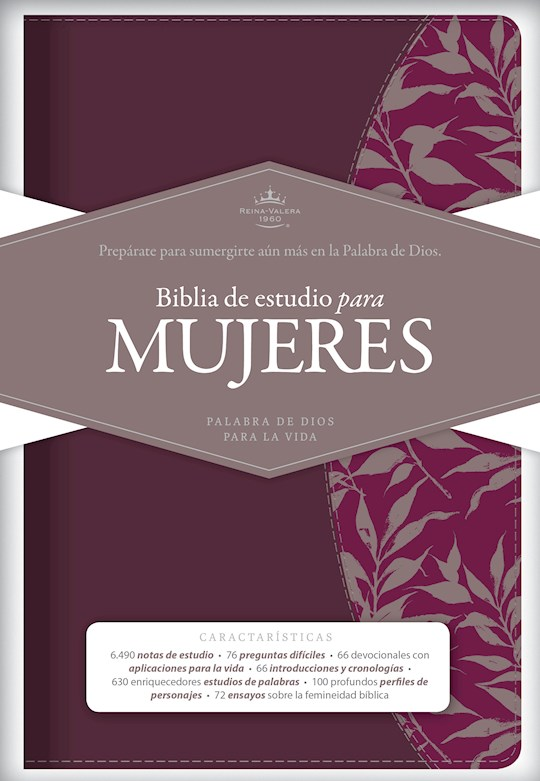 Span-RVR 1960 Study Bible For Women-Red Wine/Fuchsia LeatherTouch (Biblia De Estudio Para Mujeres) | SHOPtheWORD