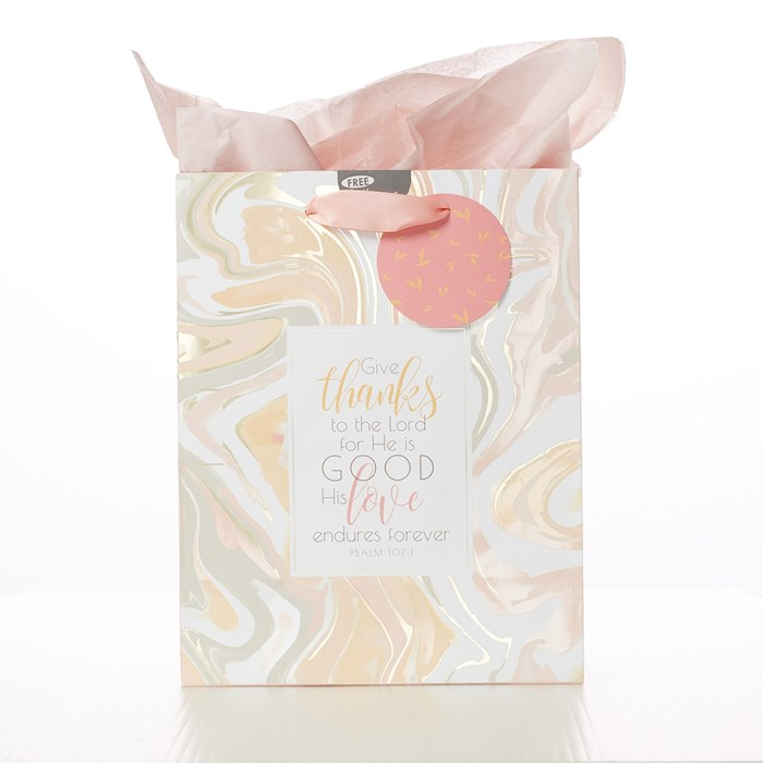 Gift Bag-Give Thanks To The Lord w/Tag & Tissue-Medium | SHOPtheWORD